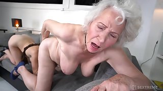 Retirement Gift - Old GILF Norma B and young brunette Tiffany Doll in lesbian action