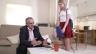 Old timer fucks pretty face and tiny pussy of lovely student Silena Moor