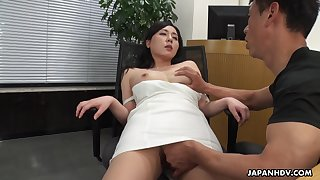 A beautiful HR clerk interviews a man then gives him full access to her pussy