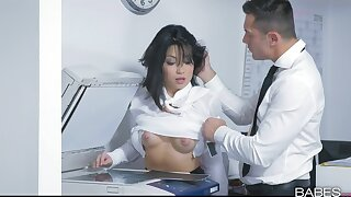 Addictive hard sex at work with the new Asian secretary