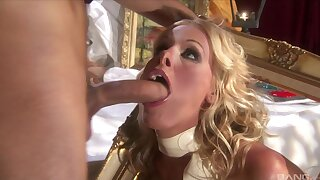 Blonde model Nicole Sheridan drops on her knees for his cock