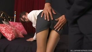 Cum on ass ending after passionate fucking with a cute Japanese babe