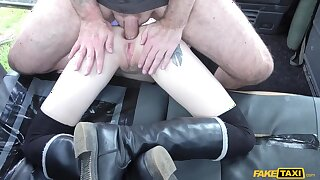 Anna De Ville gets ass-fucked in the fake cab plus Cherry Kiss' anal scene.