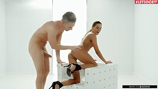 Eveline Dellai drops her black panties to be fucked in the butt