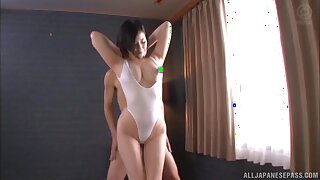 Busty Japanese girl Imanaga Sana enjoys milking his cock on her tits