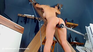 Kinky Blond Playing With Screwing Machine