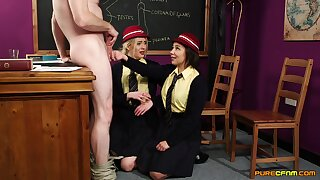 Clothed amateur chicks are keen to share their teacher's big dick