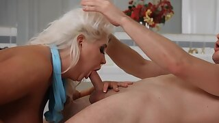 Sex-crazed blonde cougar is being fucked in the bathroom