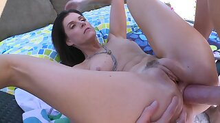 Hardcore milf gets her ass penetrated outside in the backyard
