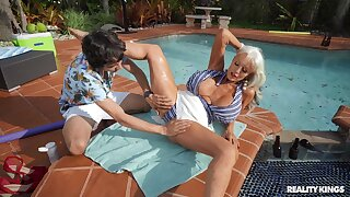 Amazing nude sex with the hot mature wife by the pool