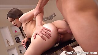 Sweetie works the big pole through the ass in soft POV anal