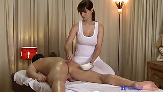 Appealing Rita Peach gives a male massage customer full-service