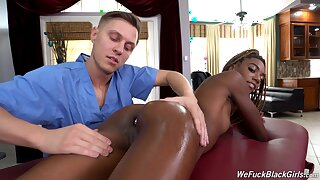 Aroused ebony seems ready for a good massage anal