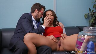 Full passion at the office with the premium Latina secretary