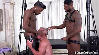 Bareback interracial anal porn with two black men on a gay senior