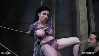 Horny master puts his busty slave in real bondage and punishes her pussy