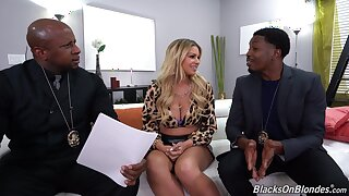 Nude Latina MILF fucks with two black cops