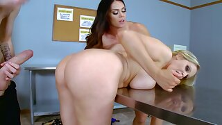 Alison Tyler and Julia Ann fuck a gigantic dick