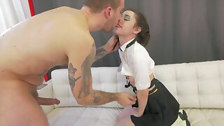 Sweet looking schoolgirl Lucie Cline enjoys rough fucking at home