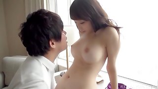 Lap busty amateur Japanese teen sucks, rides and cums on a cock