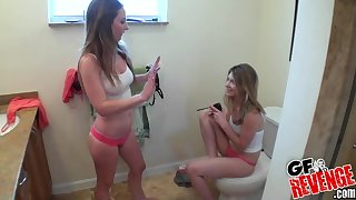 Twosome teen sluts Sam Summers and Kali James make a cock feel lucky