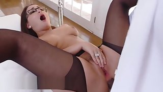 Classy secretary gabriella cheats with the big black brass hats cock