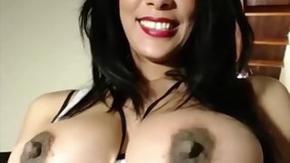 perky tits heavy pain in the neck slut fucks her succulent pussy with dildo