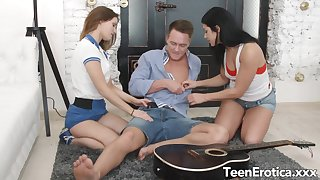 Two Perfect Teens Have an Anal Threesome