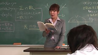 Lecturer helps a well-draped schoolgirl to concentrate on the ascription