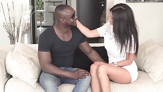 Black dude destroys wet pussy of Soraya Rico with his black pecker