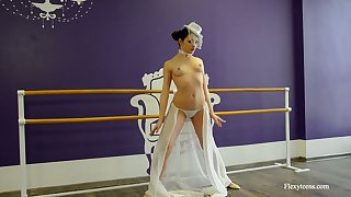 Beautiful flexible ballerina Irina Brovkina is dancing and getting naked